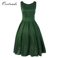Ocstrade Woman Summer Vintage Dresses 2017 Olive Green Sleeveless A Line Party Vintage Dresses 50s 60s