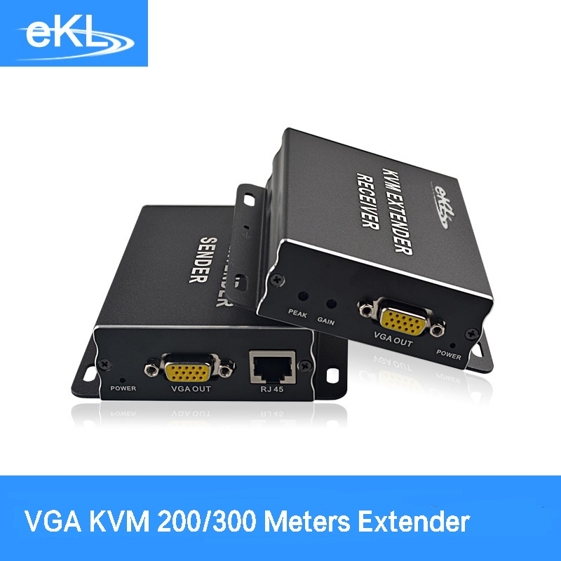 EKL VGA KVM Extender 200M/300M by Cate5e with USB Mouse and keyboard/Extender up Cat5/6 to 300M VGA UTP Extender mouse keyboard penetrator file data sharer clipboard sharing 1 km set control 2 host pc linker kvm switch without vga usb gadget