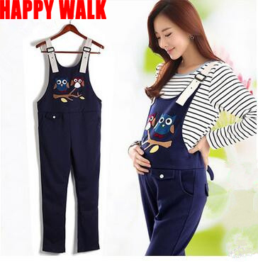 Spring & Autumn Cotton+Polyester Cartoon Owl Maternity Suspender Trousers Belly Pants Overalls For Pregnant Women