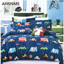 AHSNME Special Promotion! ! ! Cartoon Car Bedding Set Taxi Bus Quilt Cover Home Textiles USA & Australia & Europe Size