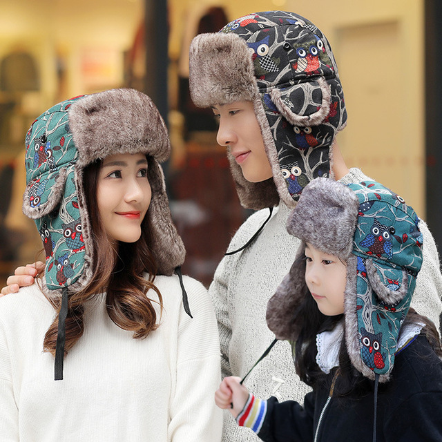 Cute Cartoon Winter Russian Hats For Adult and Kids Trapper Hat Outdoor Warm  Earflap Cap Bomber Hat d3bb1a7cc24c
