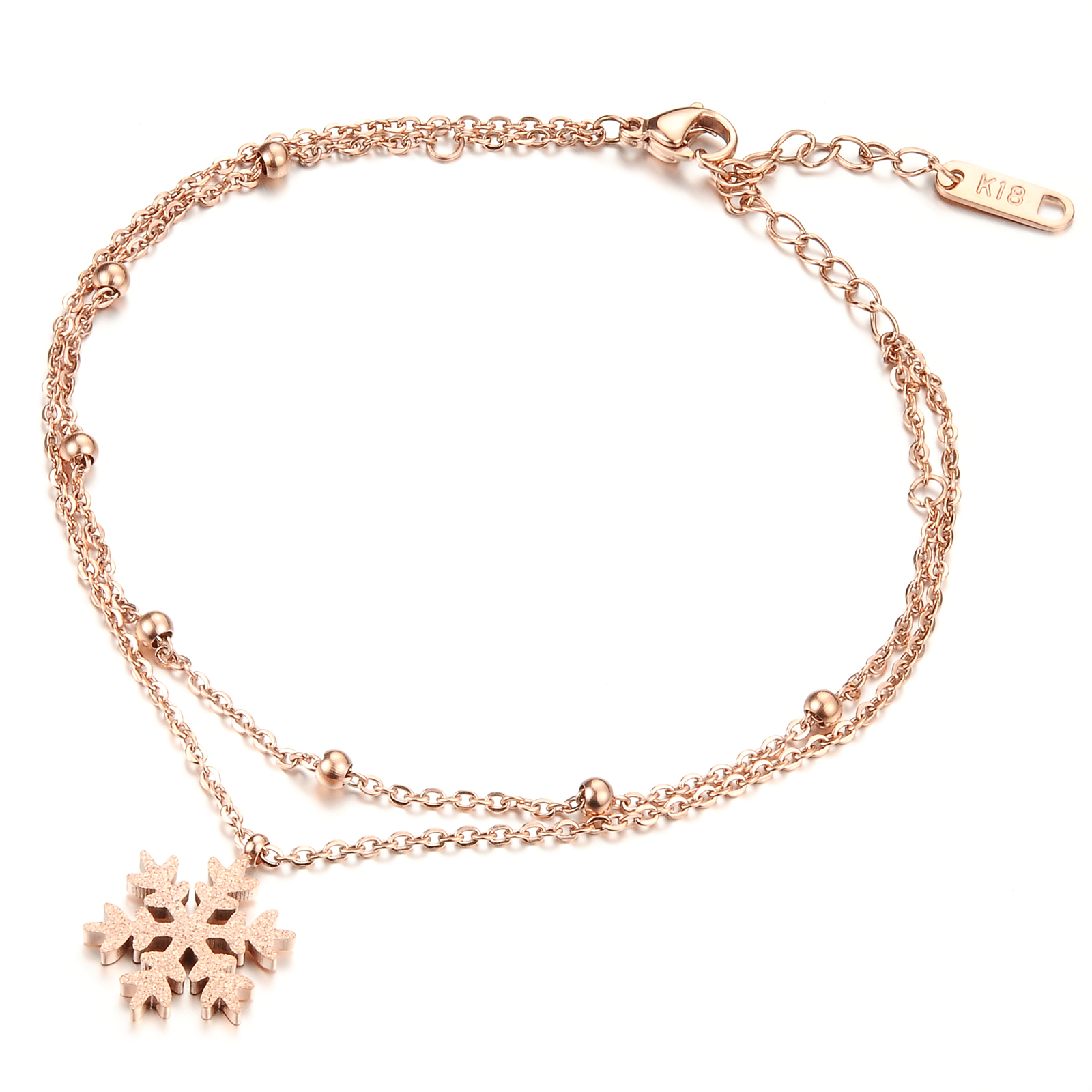 Romantic Double Layer Snowflake Woman Anklets Rose Gold Plated Stainless Steel Link Chain Women Ankle Jewelry gift