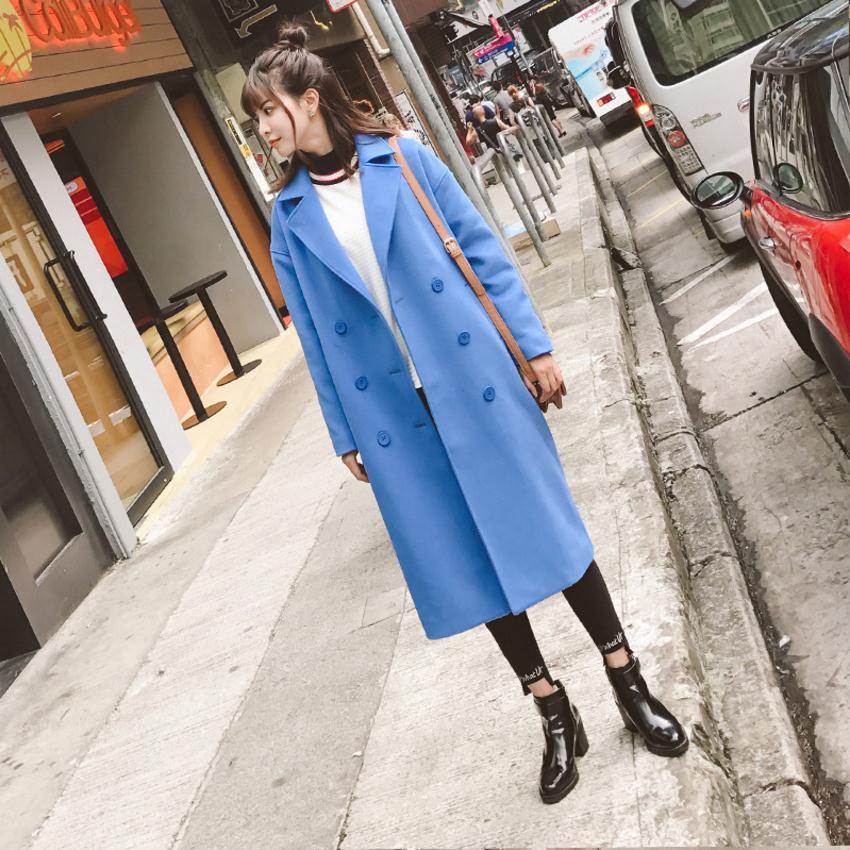 De Double Breasted Wj2885 Chaud Hiver Automne Dropship Manteau Veste Nouvelle Marque Mode Plus Femelle Blue Laine Épais Et 1IqwvqR