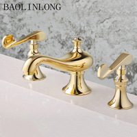 Титановый Золотой Классический латунный Смеситель для ванной комнаты, смеситель для ванной, водопроводный кран, кран для ванной