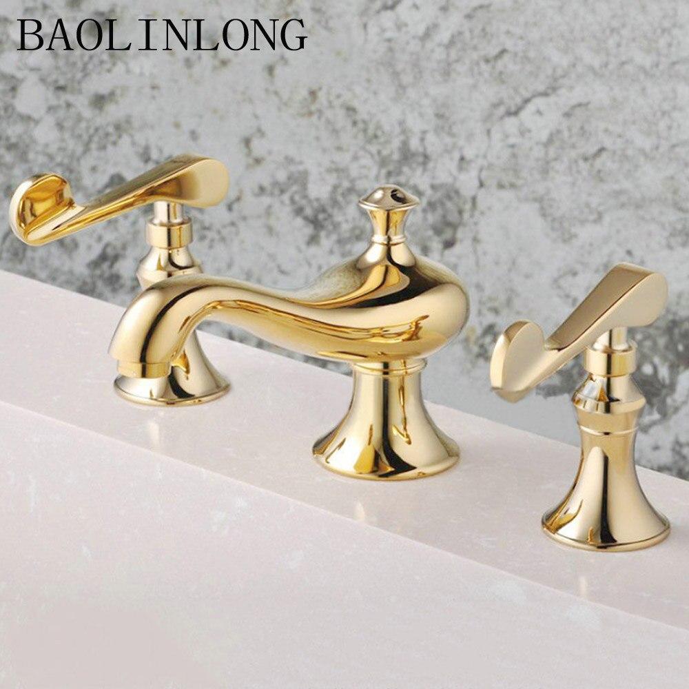 BAOLINLONG classique Style laiton salle de bain robinet baignoire robinet ensemble baignoire mitigeur évier robinet robinet