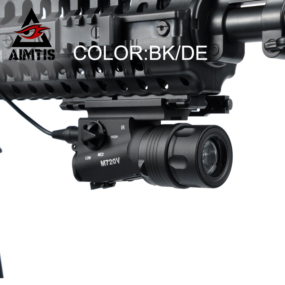 AIMTIS Best Airsoft M720V Tactical Flashlight Constant / Momentary / Strobe Weapon Gun Light QD Mount with Tail Switch greenbase tactical weapon light sf x300 hunting flashlight airsoft pistol scout light constant momentary output picatinny rail