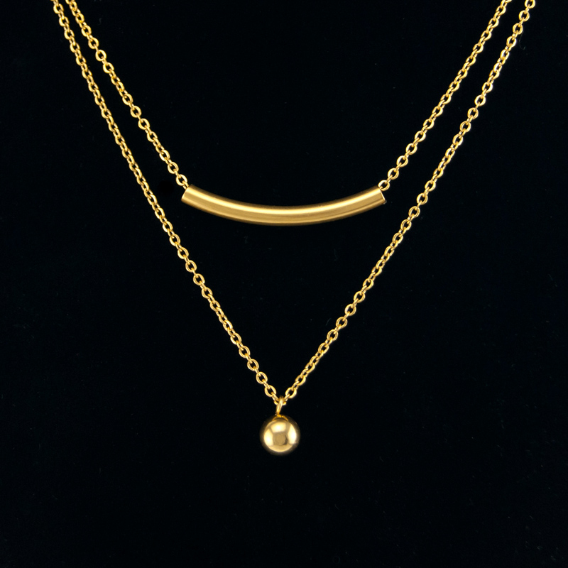 Simsimi woman double layers chain collar choker necklace golden stainless  steel ball tube girl necklaces fe048aa02d14