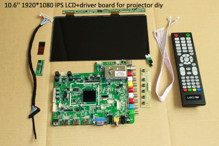 10.6'' 1920*1080 1080p IPS samsun lcd display screen with driver kit HDMI-VGA-AV-USB-TV projector DIY kit home cinema 7 inch ips high definition lcd screen driver board display kit 1280 800 projector diy reversing