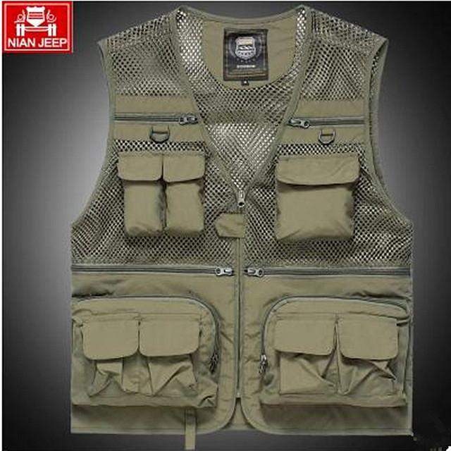 The classic 2018 high quality pure cotton JEEP vest detachable  leisure Many pocket zipper photography vest men director coat