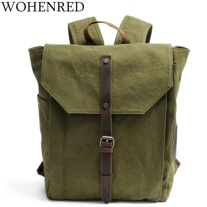 Canvas Men's Backpack Leather Laptop Backpack Vintage ArmyGreen Multifunction Travel Shoulder Bag College School Bag Bagpack Men chic canvas leather british europe student shopping retro school book college laptop everyday travel daily middle size backpack