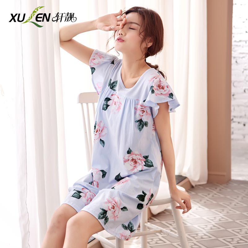 Summer   nightgown   plus size night dress sexy women cotton sleepwear female   nightgown   ladies   sleepshirt   home print clothing