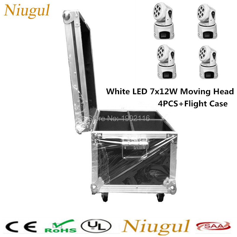 4pcs/lot with a flight case White color 7x12w LED Moving Head light RGBW Mini wash light dj disco lighting DMX512 stage lights folding s 1200 rotor shaft professional grade uav rack shaft large frame for 8 axis rc airplane plane