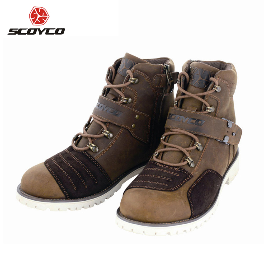 SCOYCO Motorcycle Boots Touring Boots Vintage Design Casual Cow Leather Riding Ankle Boots Motorbike Street Racing Shoes MBT006