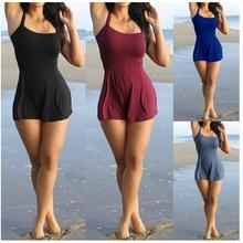 Women Playsuit Summer Sexy Sleeveless Shorts Beach Jumpsuit Casual Loose 6XL Solid Rompers