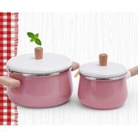 Home Kitchen Non stick Pot Enamel Wooden Handle panelas Cooking Tools Food Cookware Storage Boxes for Food Milk Cookware hotpot