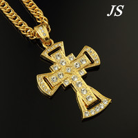 Punk Rock Wide Gold Cross Neckless Men Corrent Ouro Hiphop Dance Gothic Necklace Bijoux Homme Collier