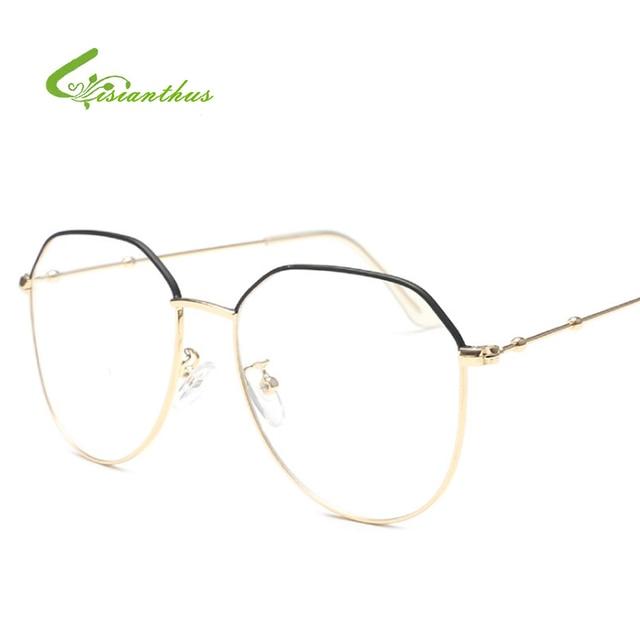 29e07297abd Fashion Vintage Women Eye Glasses Frames Plain Mirror Big Metal Oval Frame  Glasses Clear Lens Unisex