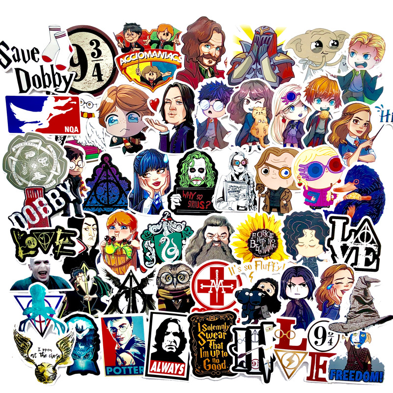 53PCS Harry Hogwarts Potter Waterproof Graffiti Stickers Cartoon DIY Decals Sticker For Skateboard Fridge Laptop Phone Luggage