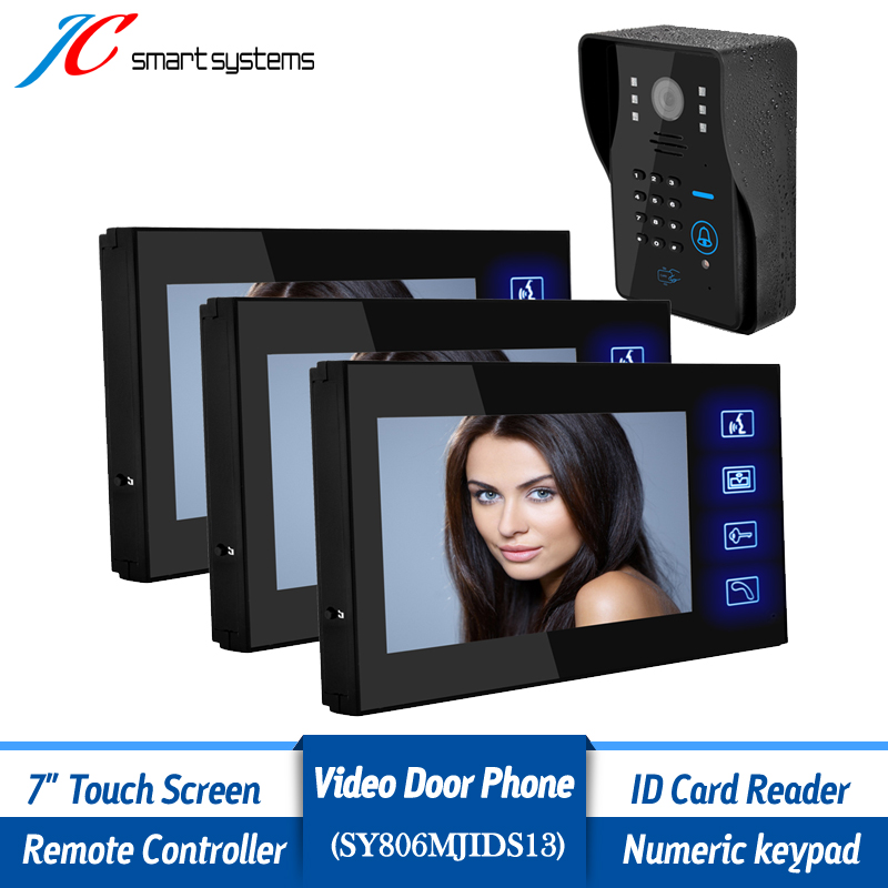1v3 Smart home intercom system wired video doorphone HD font b camera b font doorbell with