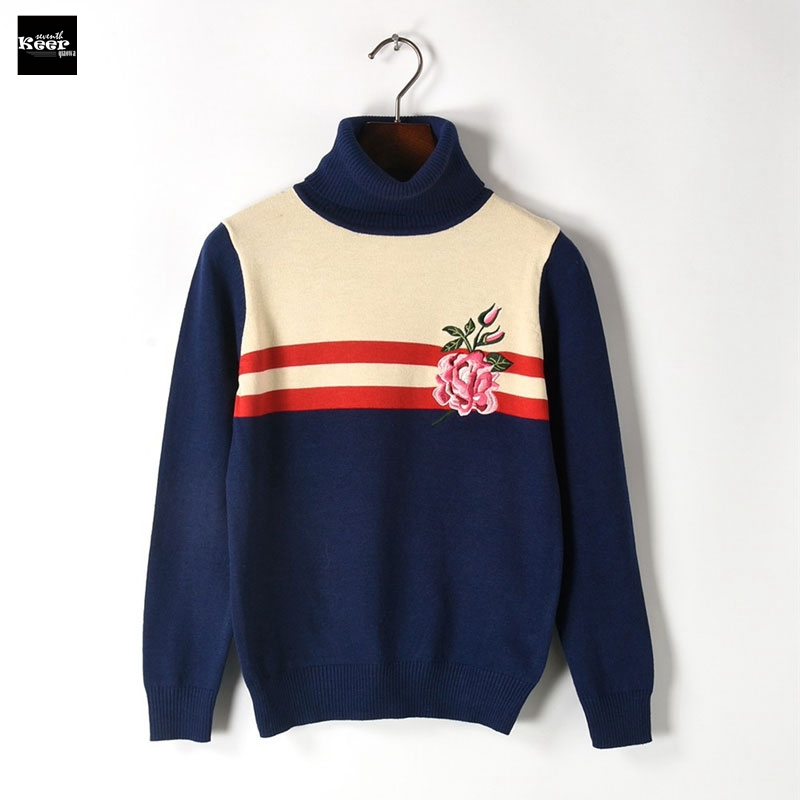 2018 New Knit Pullover Sweater Women Runway Designer Casual Striped Floral Embroidery Autumn Winter Turtleneck Knitwear Jumpers