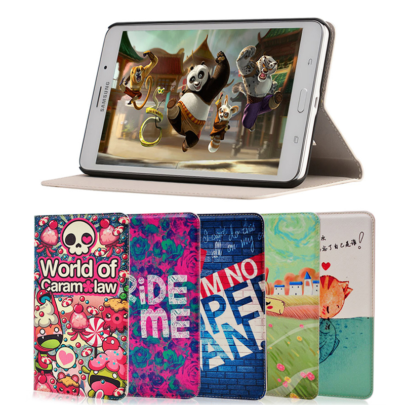 Fashion painted Pu leather stand holder Cover Case For Samsung Galaxy Tab 4 T230 T231 T235 7.0 inch Tablet + Gift fashion painted flip pu leather for samsung galaxy tab 2 7 0 p3100 p3110 7 0 inch tablet smart case cover gift