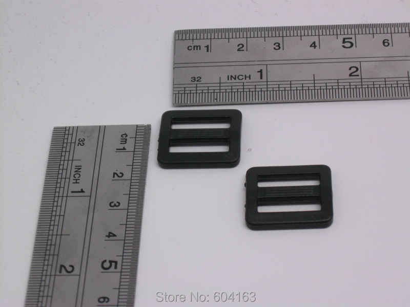 """200 pcs 5/8 """"15mm Ajustador Webbing Triglides Lâminas para Fivelas de Cinto pulseira de Couro Preto"""