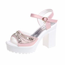 2019 Summer Korean diamond fish beak sandals high heel a word buckle coarse  women