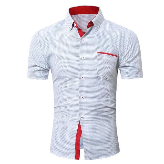 Для мужчин s Повседневное футболка с коротким рукавом Бизнес тонкая рубашка в горошек Блузка Топ Для мужчин рубашка короткий рукав хлопок # GH30
