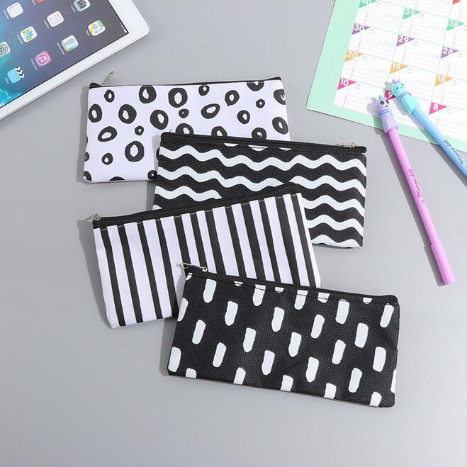 20pcs/lot Vintage  Black&White Simple Stripes Canvas Pencil Case Cosmetic Pouch Pen Bag Office School Stationery Supplies