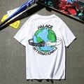Palacio patinetas camisetas mujeres de los hombres de algodón de buena calidad 1:1 hip hop brand clothing tierra impresión palacio de la manera t-shirt camiseta
