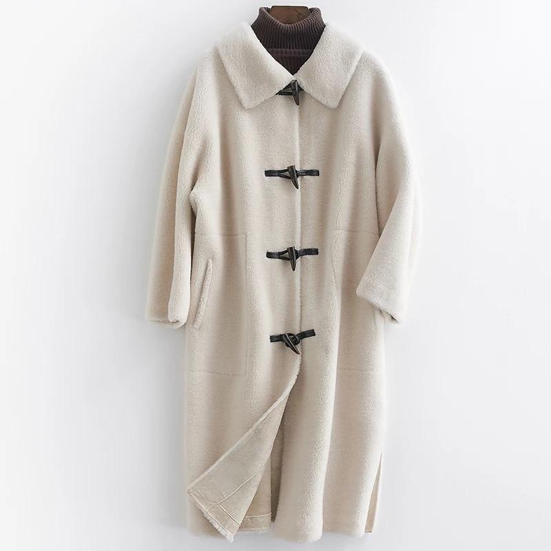 De Nouvelle Manteau Manteaux Tonte Blue Moutons Camel Laine Réel Naturel Des rice D'hiver Arrivée Beige Femmes 2019 Élégant sea Fourrure Long Vêtements Agneau 100 Veste qzItx