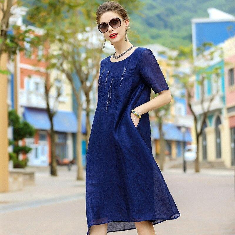 A4ZT956 Europe et états-unis marque femmes robe en lin soie robe paillettes clou perle robe d'été