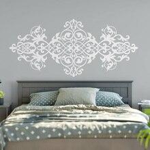 Calcomanía de pared de flores Mandala vinilo arte Vintage cabecera pegatinas de pared diseño barroco dormitorio decoración del hogar impermeable W482