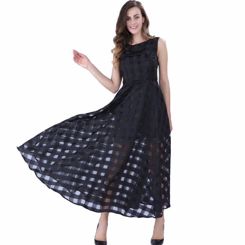 Sisjuly Women Black Pullover Dress Vintage Female Sleeveless Hollow Out Girl Dress Women Round Neck Ankle