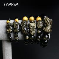 Tiger Eye&Black Obsidian Natural Stone Bracelet Energy 6 18mm Beads Jewelry Bracelets Lucky brave troops jewelry men Women Gift