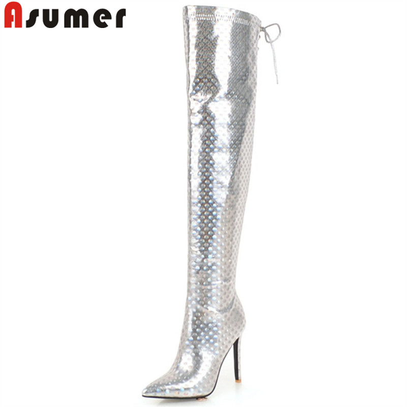 купить ASUMER 2018 fashion autumn winter boots pointed toe zip over the knee boots thin high heels prom thigh high boots plus size недорого