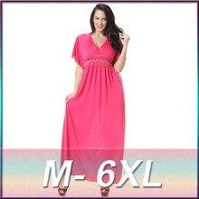 Plus size Silk dress women summer dress 2016 Bohemia V neck seaside beach dress blue red color dress M L XL 2XL 3XL 4XL 5XL 6XL