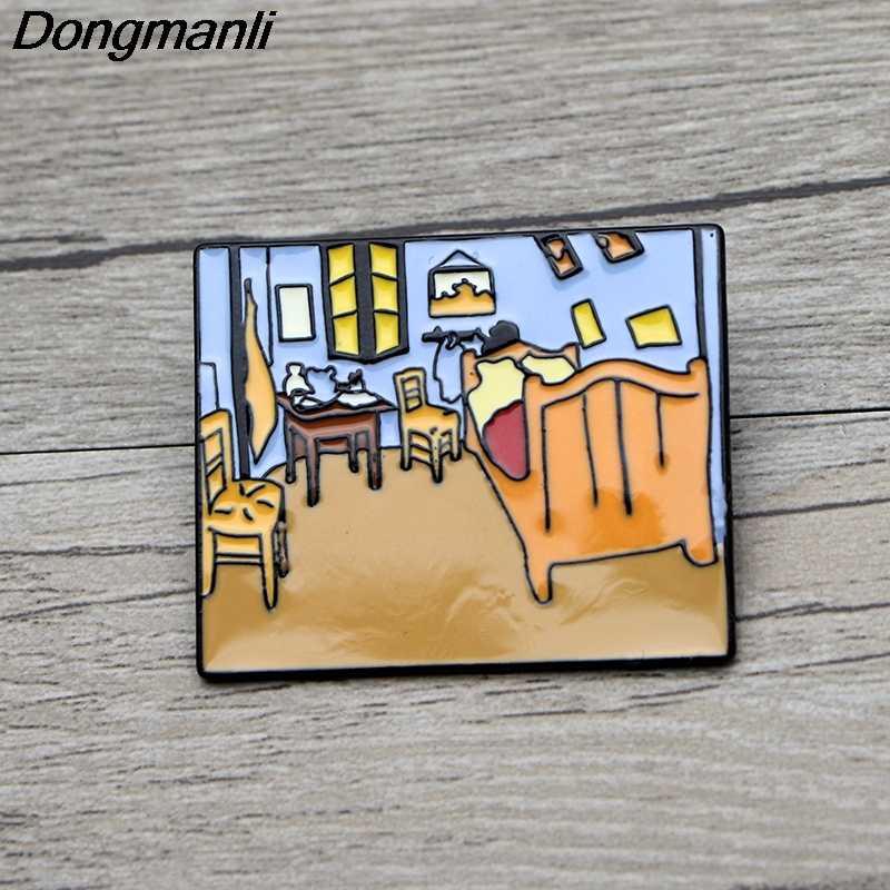 L3637 Van Gogh della Pittura A Olio di Arte Dello Smalto Spille Spille Del Fumetto Creativo Spilla In Metallo Spilli Denim Cappello Distintivo Del Collare Dei Monili 1 pcs