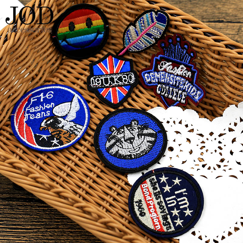 JOD 7pcs/lot Mixed Embroidery Badge Patch Applique DIY Iron on Embroidered Patches for Clothes Children Jeans Jacker Women