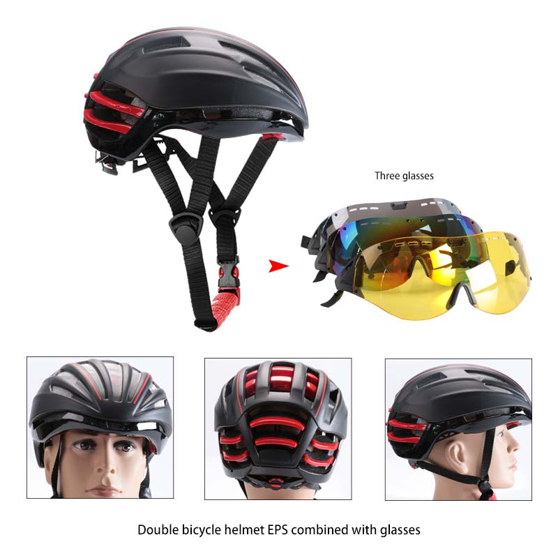 Bicycle Helmets 2017 Goggles Cycling Helmet Insect Net Mountain MTB Road Bike Cycling Helmet With Lens black and red color moon top quality cycling helmet bicycle insect net bicycle helmet ultralight bike helmet for road and mountain mtb [ch12]