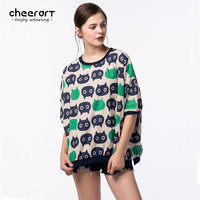 Plus Size T Shirt Women Loose Cartoon Pattern Print Linen Cotton Korean Fashion Tops Autumn Tee