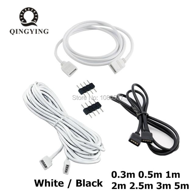 1 20 sztuk biały/czarny kobieta taśmy LED złącze kabla 4Pin przedłużacz 30cm 50cm 1m 2m 3m 5m dla 3528 5050 taśmy LED rgb