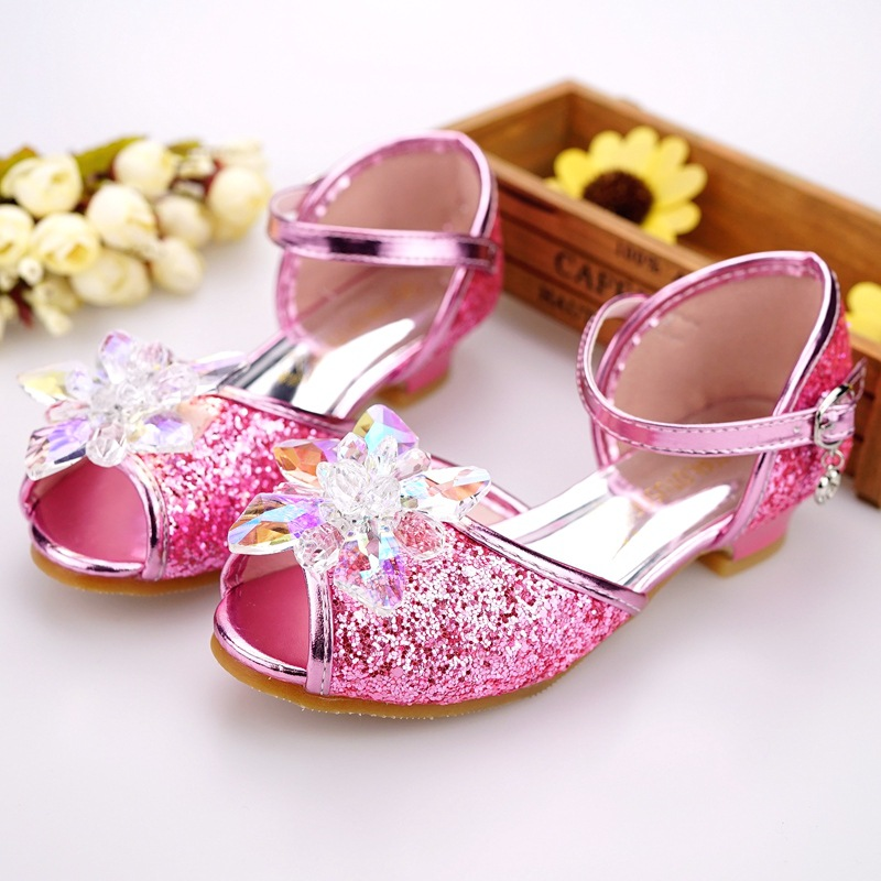 Image 3 - Children shoes girls high heel summer shoes for girls fashion blue crystal wedding sandals fish mouth princess shoes JHL502 1-in Sandals from Mother & Kids