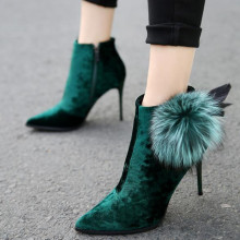 2016 winter New Arrive female high heels Black dark green Suede fashion Women ankle boots with