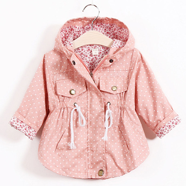 2016 Fashion Children's Jacket Girls Outwear Casual Hooded Coats Girls Jackets School 2-8Y Baby Kids Trench Spring Autumn SC410