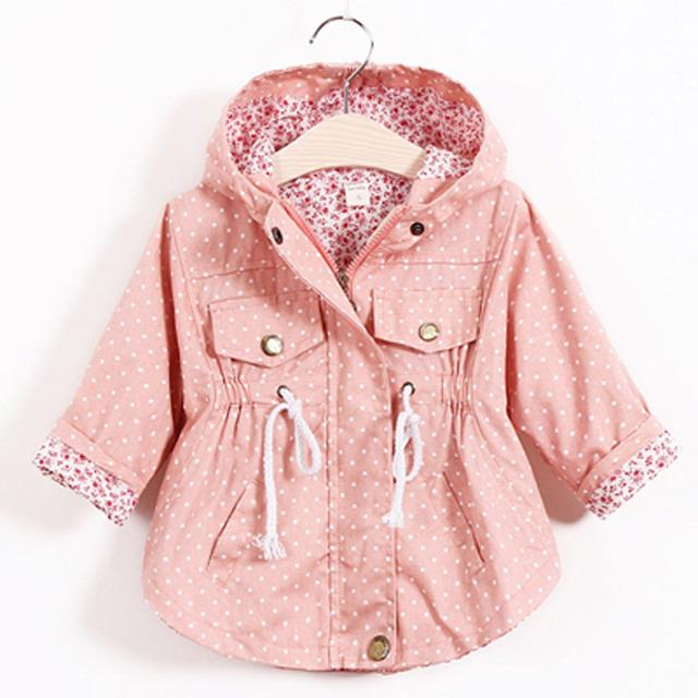 2016 Moda infantil Meninas Jaqueta Outwear Casacos Com Capuz Casuais Jaquetas Meninas Escola 2-8A Crianças Bebê Trincheira Primavera Outono SC410