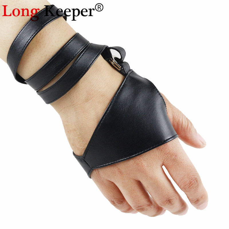 LongKeeper Gothic Punk Cool Lady Women Sexy Disco Dance Rock-and-roll Fingerless Short PU Leather Gloves Black Luvas