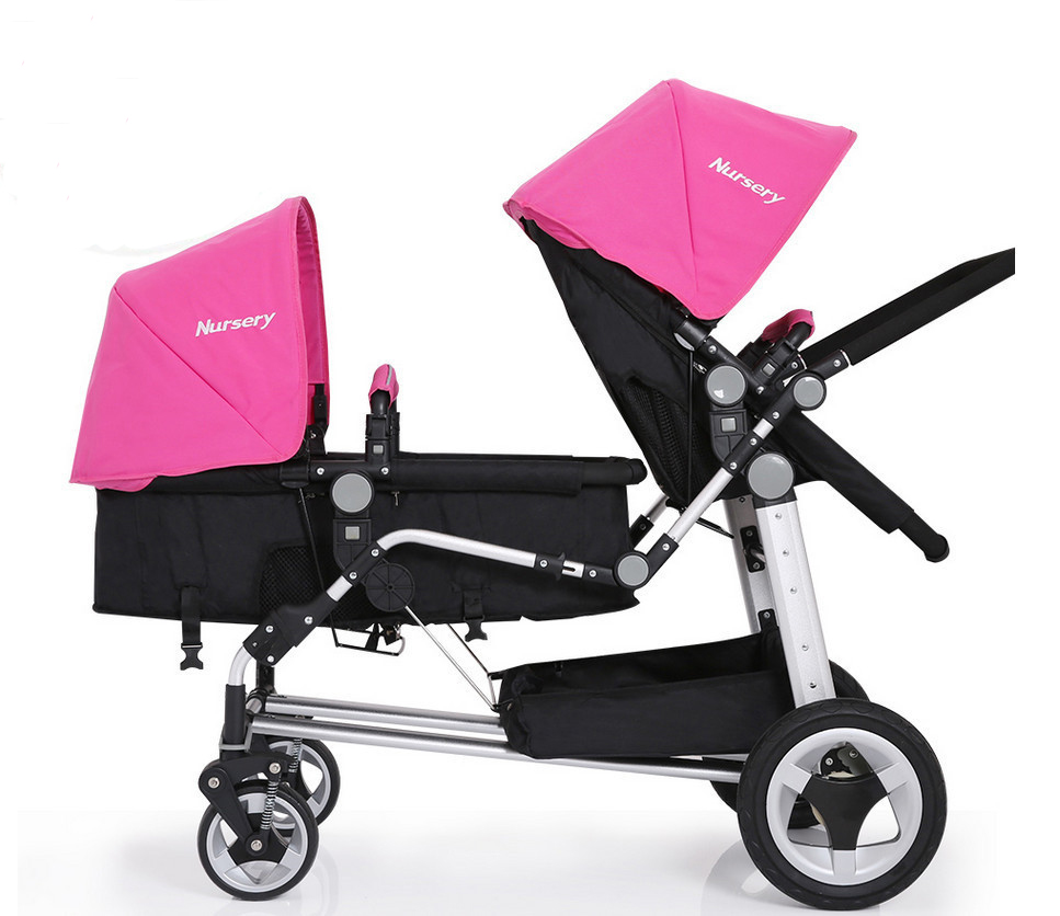 2017 Baby Twins Strollers Tow Baby Vacuum Tire Stroller Portable Twins Buggy Multi States to Adjust Double Seats Special Car