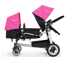 2017 Baby Twins Strollers Tow Baby Vacuum Tire Stroller Portable Twins Buggy Multi States to Adjust