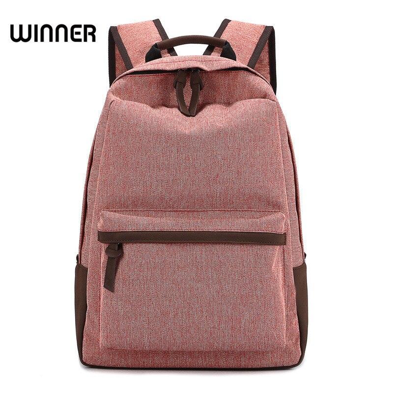 все цены на Winner Canvas Backpack for Teenage Girls Simple Solid Leisure Travel Backpack Student Wear-resistant Breathable Backpacks онлайн